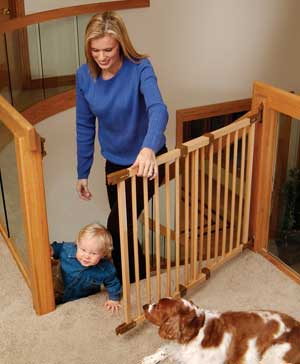 "Deluxe Angle-Mount Kidco Wood Safeway Baby Gate - 28""-43""W x 31H  Extensions Available"